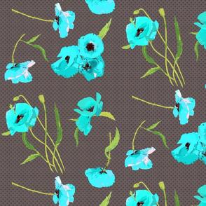 aqua poppies on grey dots