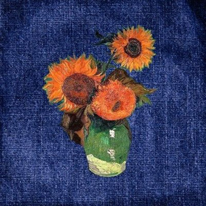 "Van Gogh's Sunflowers on ""Denim"" Cheater Quilt Blocks"