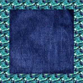 Denim Quilt Block with Van Gogh's Starry Night border