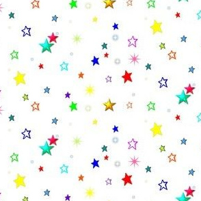 Rainbow Stars on White (Coordinates with my T-Rex quilt fabric)