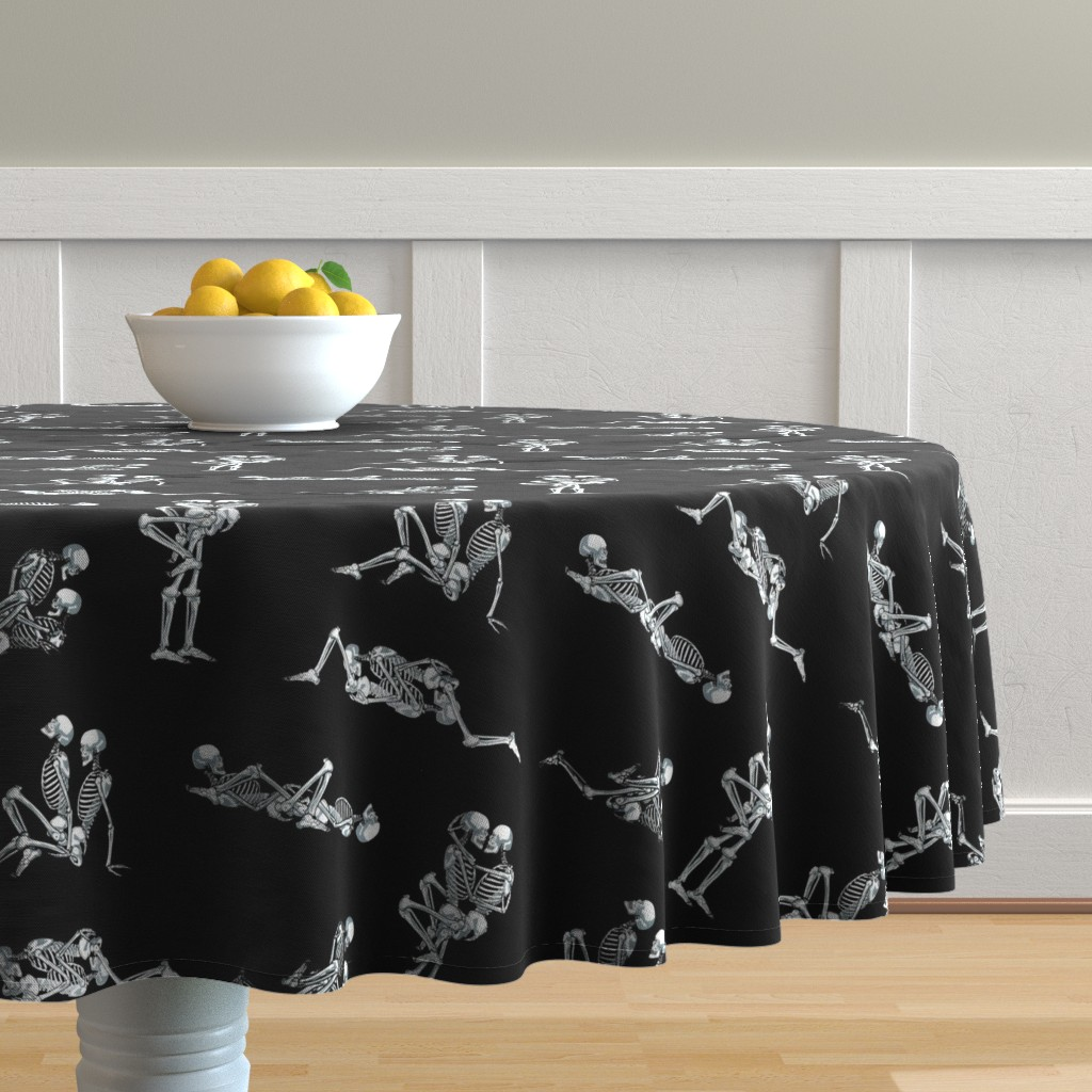 Malay Round Tablecloth featuring Skeleton Love by dr_frybrain