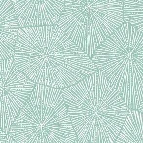 extra-large petoskey-stone pattern, white on mint