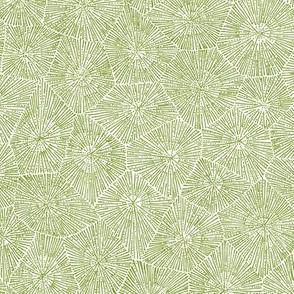 petoskey-stone pattern, moss green on white