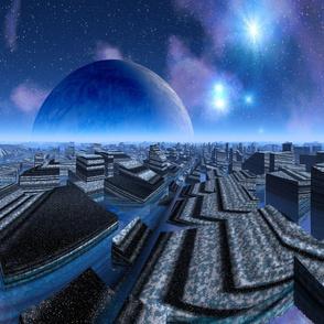 Stone Water City Sci Fi Art