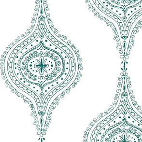 Moroccan Teal on White