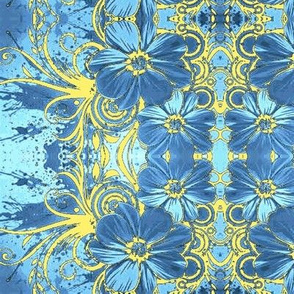 Flowers16-blue/yellow-Large