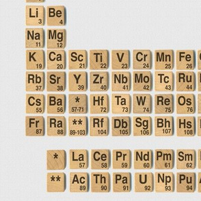 Games with Elements - periodic table on pale grey canvas