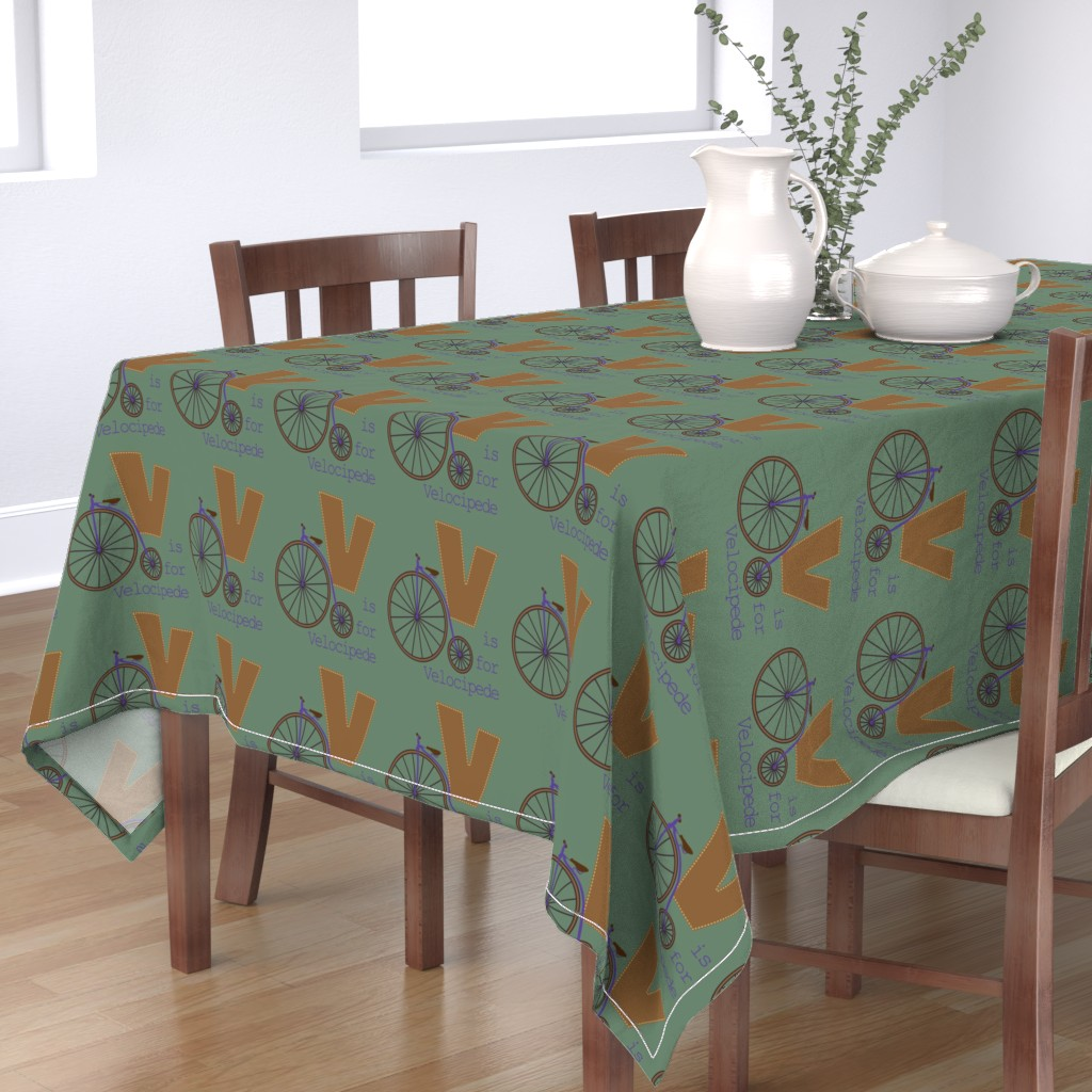 Bantam Rectangular Tablecloth featuring V is for Velocipede by phantomssiren