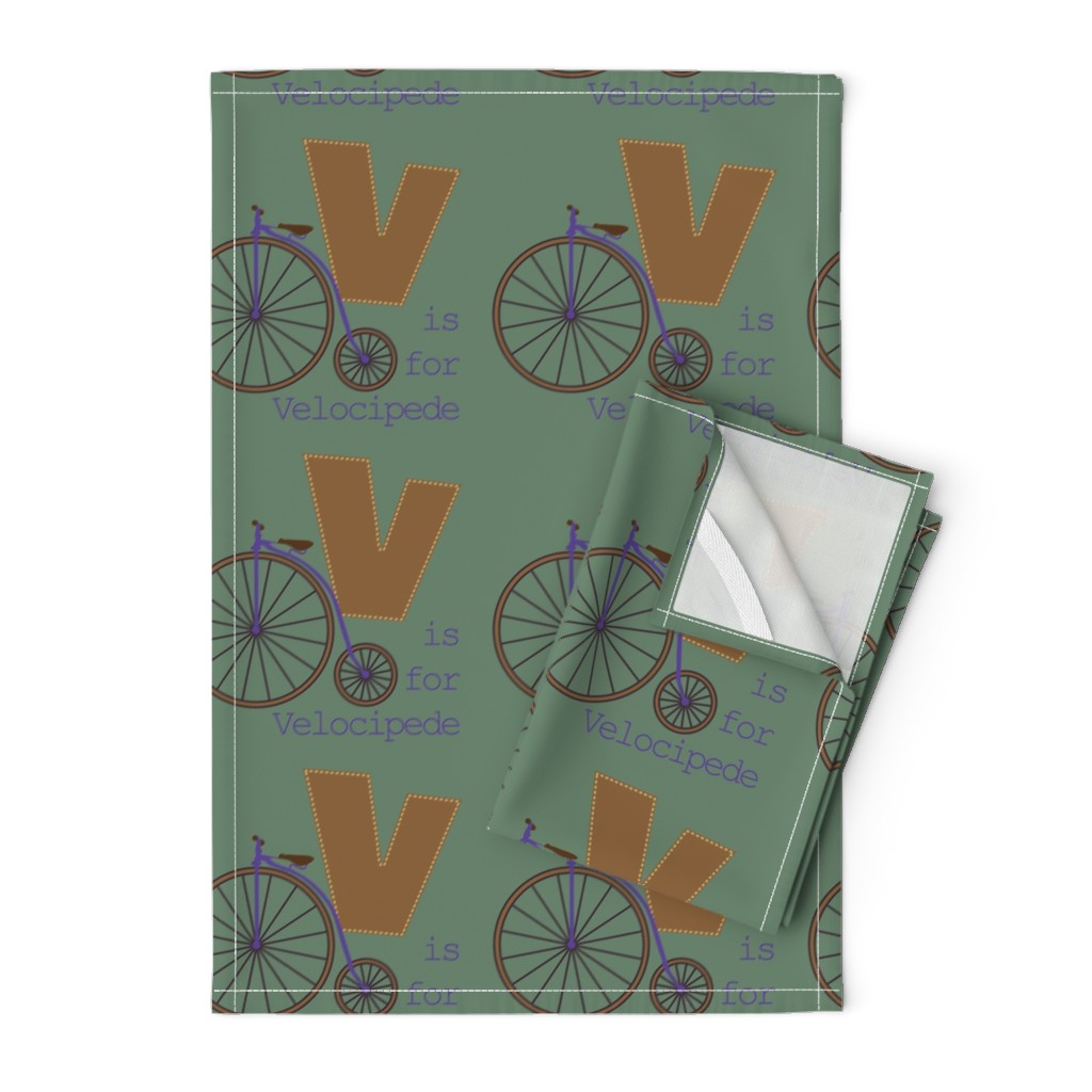 Orpington Tea Towels featuring V is for Velocipede by phantomssiren