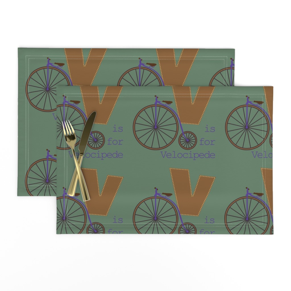 Lamona Cloth Placemats featuring V is for Velocipede by phantomssiren