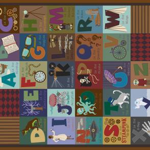 Steampunk Alphabet One Yard Cheater Quilt