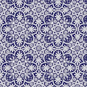 Bourgogne Tile ~  Admiral  ~ White and Blue