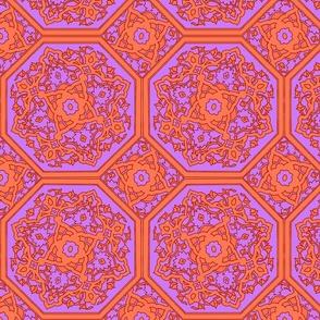 Persian Tile ~ Lavender and Acid Orange