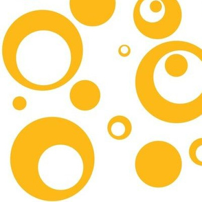 Circles and Dots White with Mango