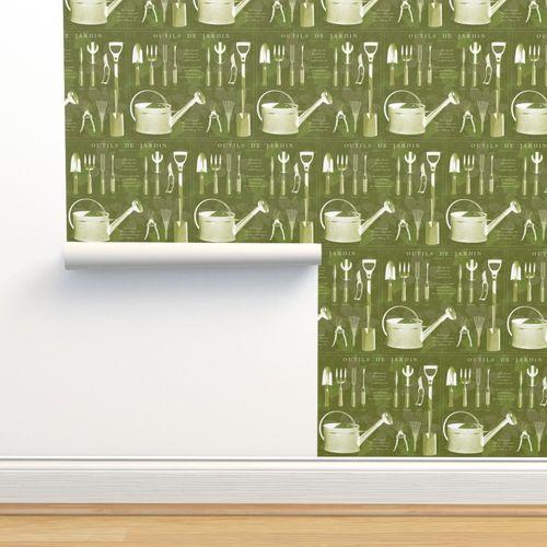 Papier peint jardin, Français, botanique, olive, outil
