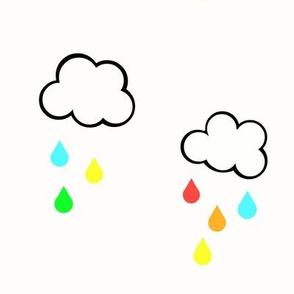 Rainbow Rain Clouds on White