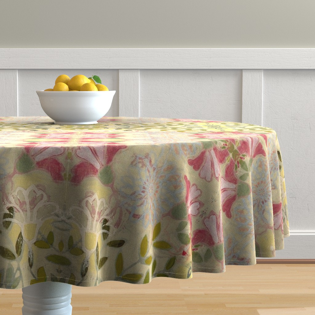 Malay Round Tablecloth featuring pinkdaffs by maria_pezzano