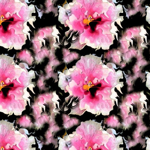 Hibiscus in the Rain Noir by Rosanna Hope