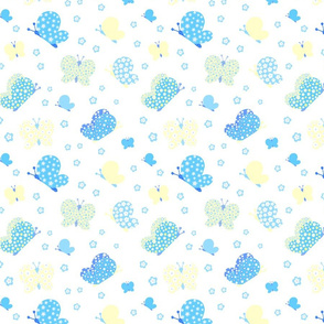 Blue And Yellow Butterfly Meadow Medium Print
