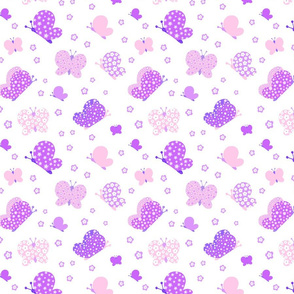 Pink And Purple Butterfly Meadow Medium Print