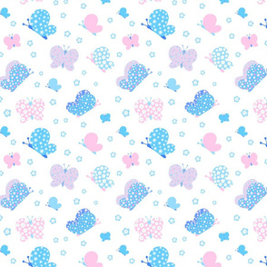 Pink And Blue Butterfly Meadow Medium Print