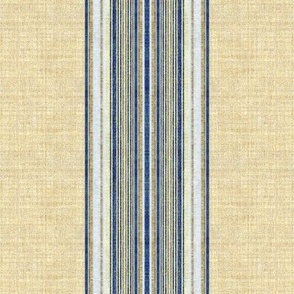 Ticking Stripe Grain Sack blue and linen wide stripe