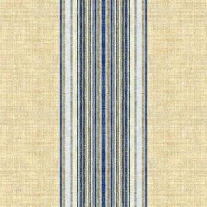 Ticking Stripe Grain Sack blue and linen wide stripe
