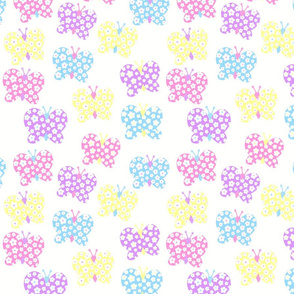 Bright Pastel Flower Butterfly
