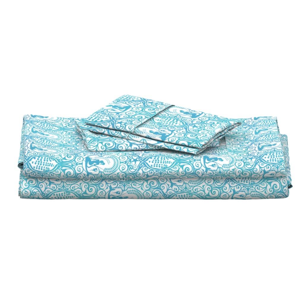 Langshan Full Bed Set featuring Mermaid Sea Spray by spellstone