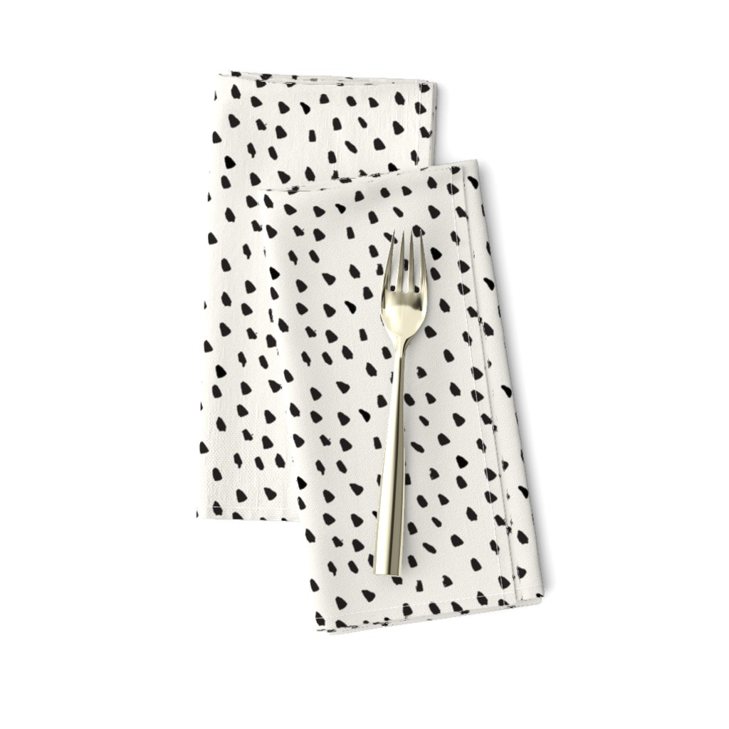 Amarela Dinner Napkins featuring Black Painted Dots on Cream by weegallery
