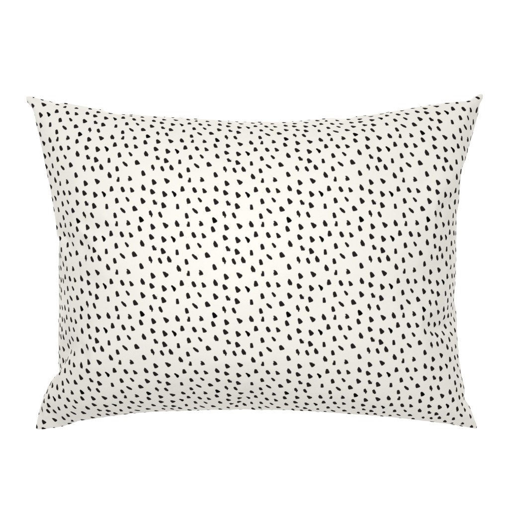 Campine Pillow Sham featuring Black Painted Dots on Cream by weegallery