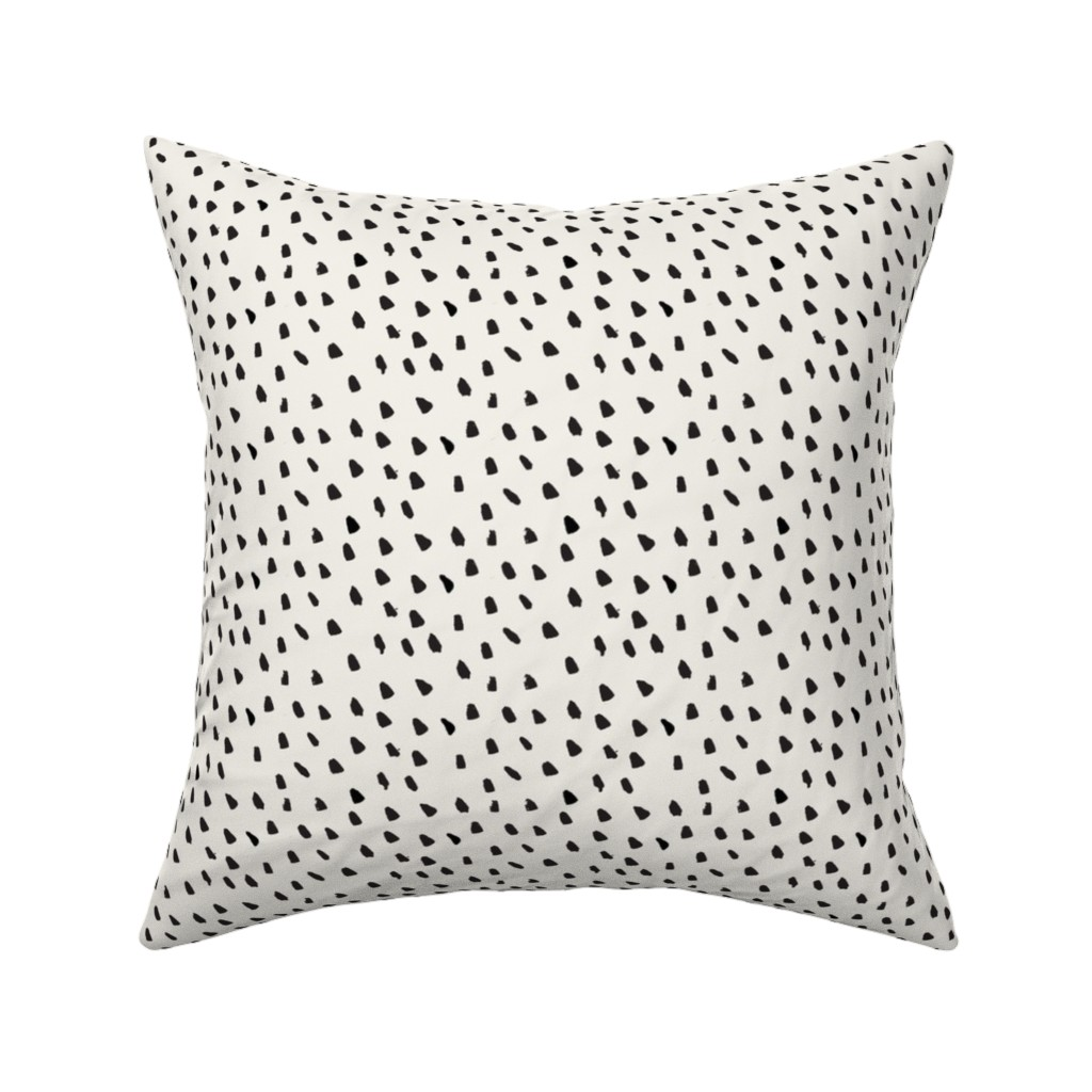 Catalan Throw Pillow featuring Black Painted Dots on Cream by weegallery