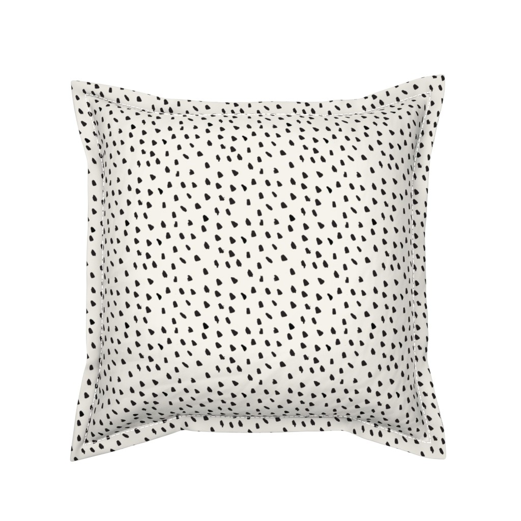 Serama Throw Pillow featuring Black Painted Dots on Cream by weegallery