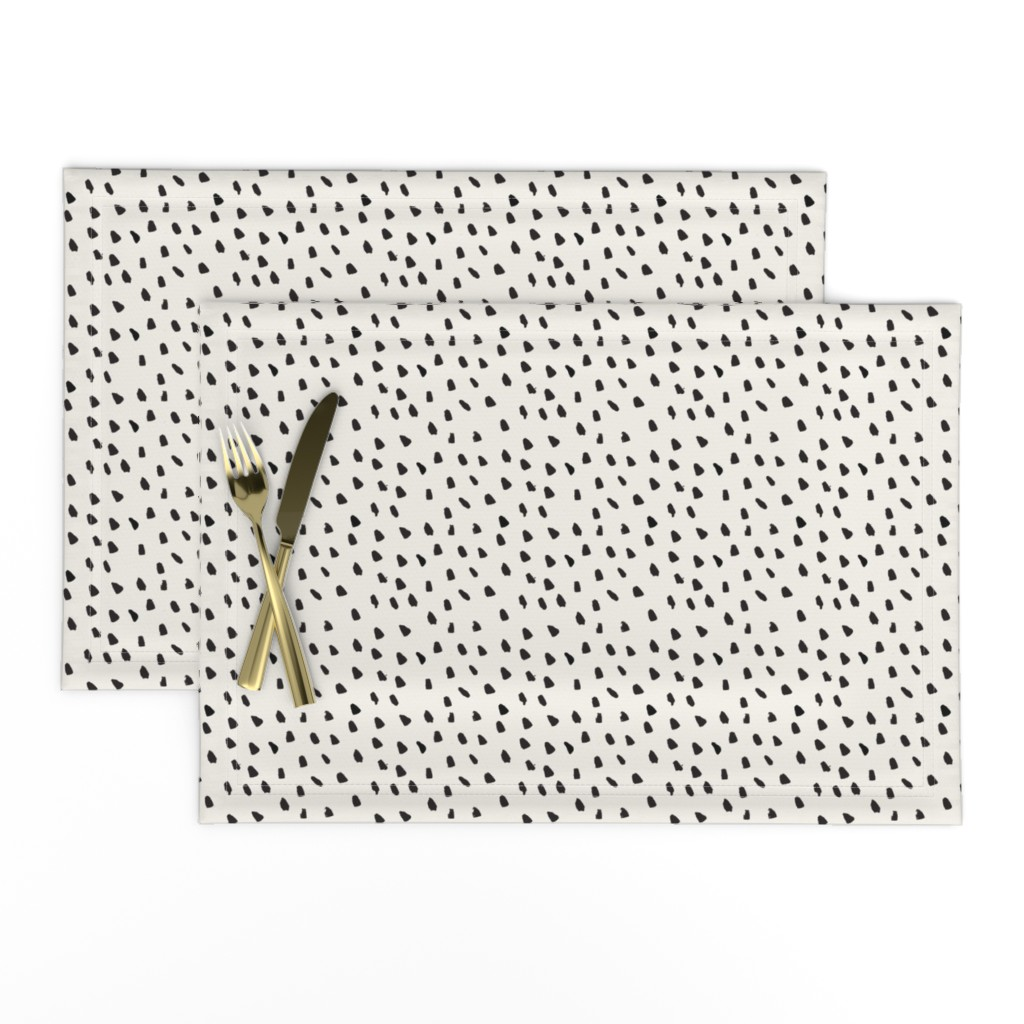 Lamona Cloth Placemats featuring Black Painted Dots on Cream by weegallery
