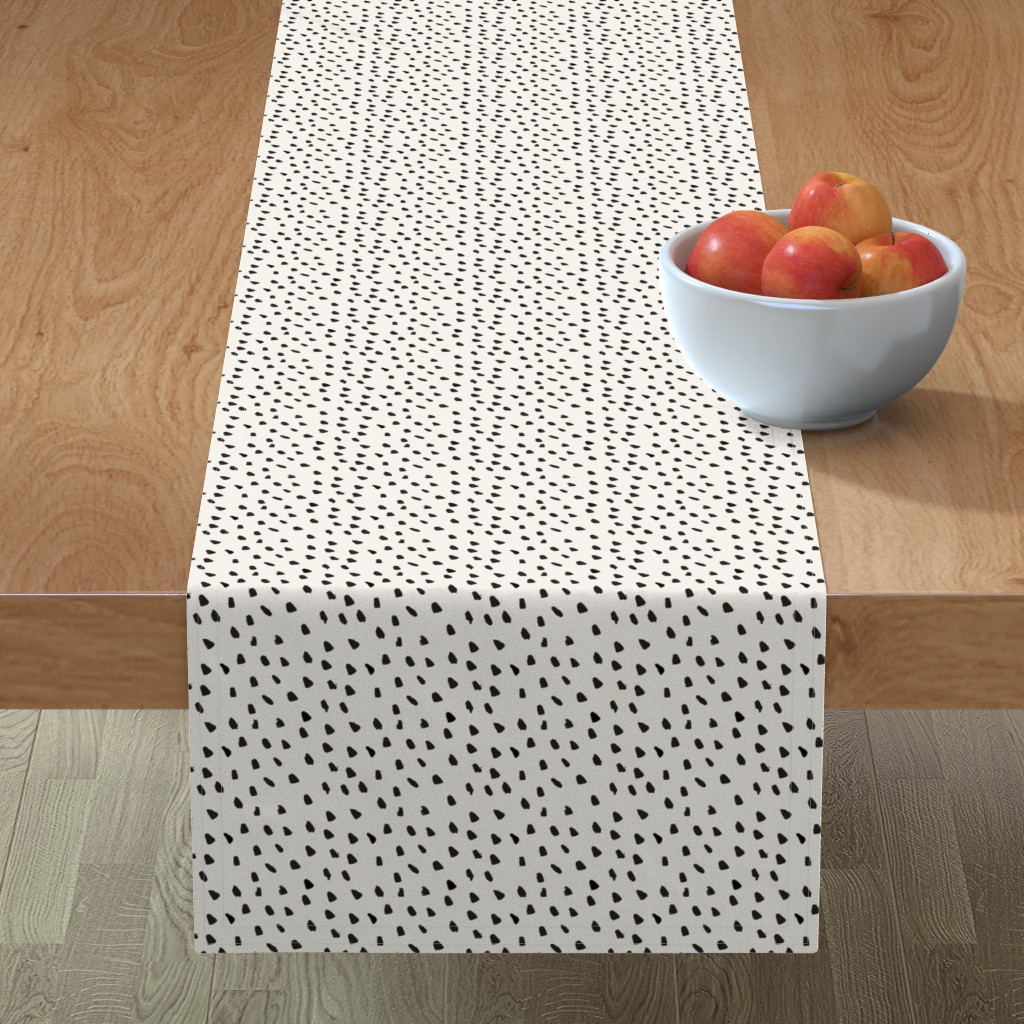 Minorca Table Runner featuring Black Painted Dots on Cream by weegallery