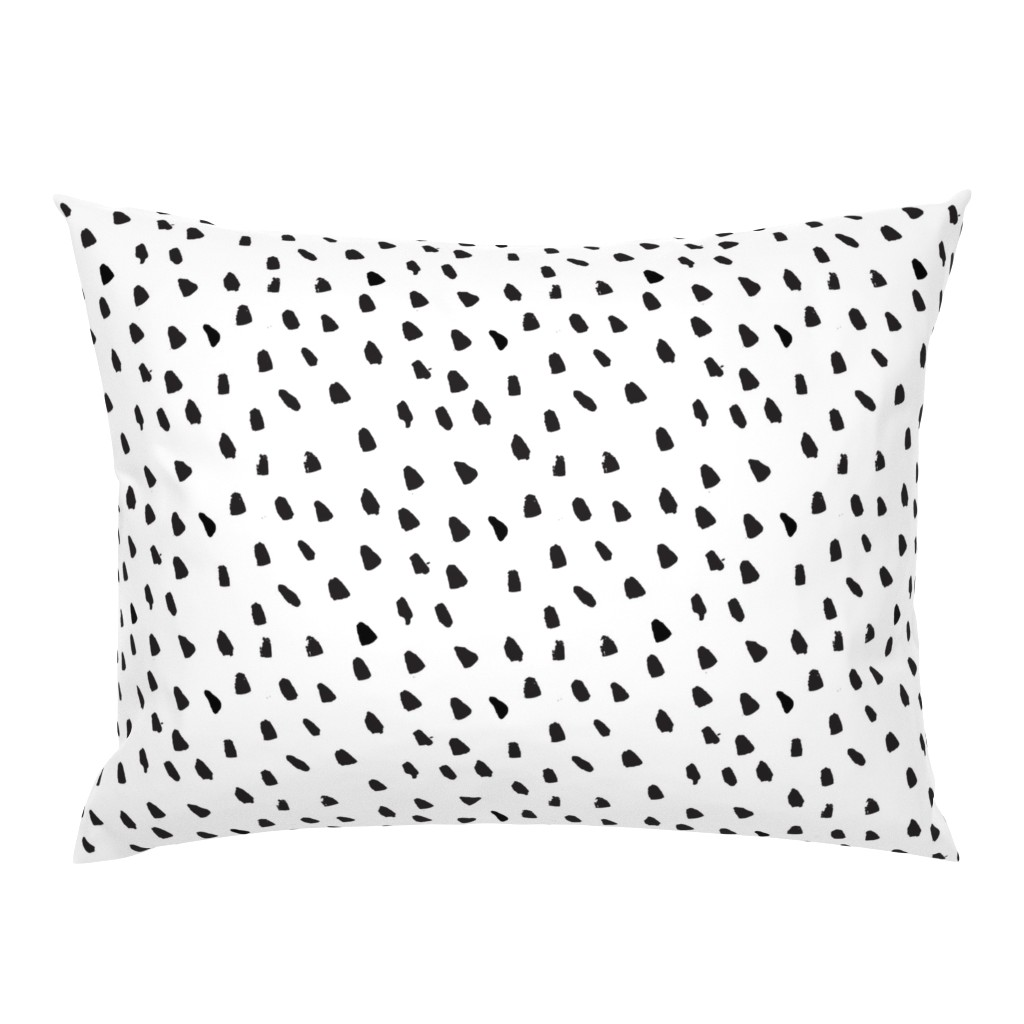 Campine Pillow Sham featuring Painted Black Dots on White by weegallery