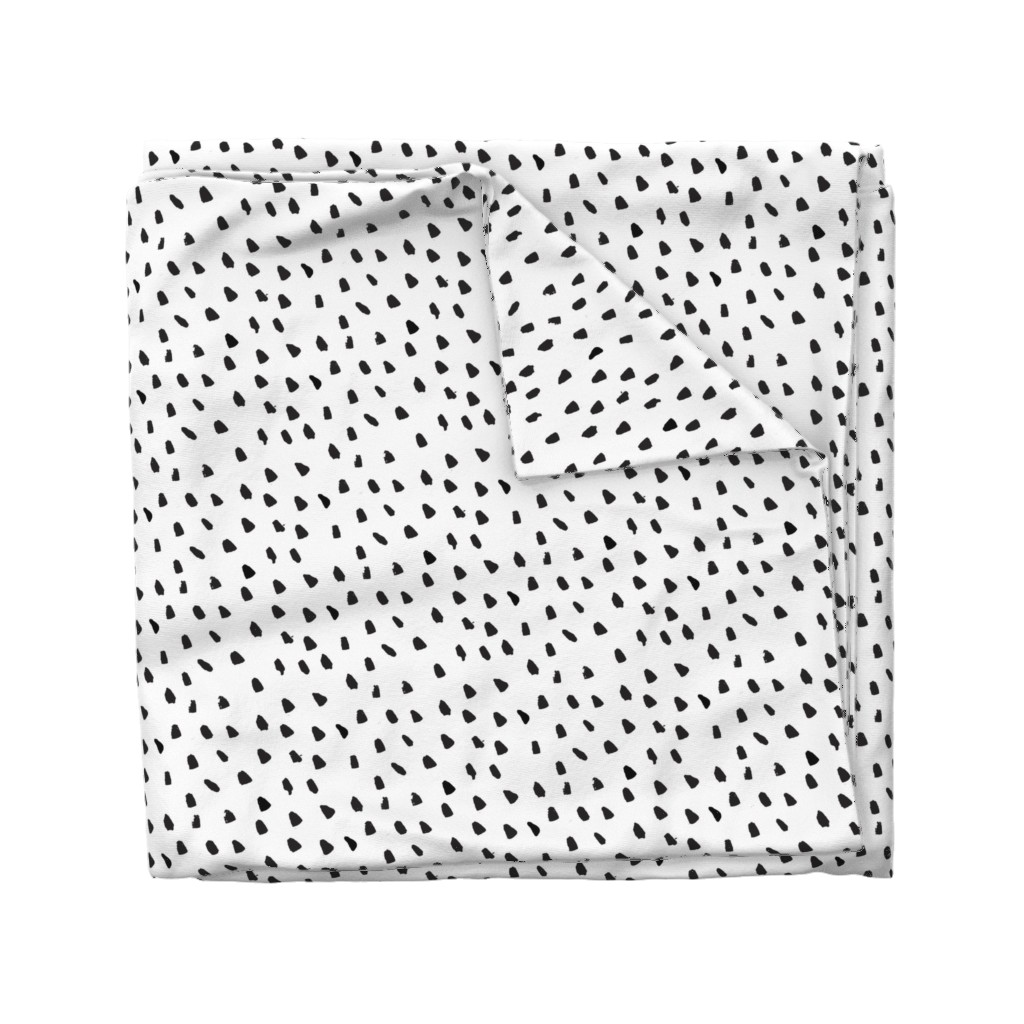 Wyandotte Duvet Cover featuring Painted Black Dots on White by weegallery