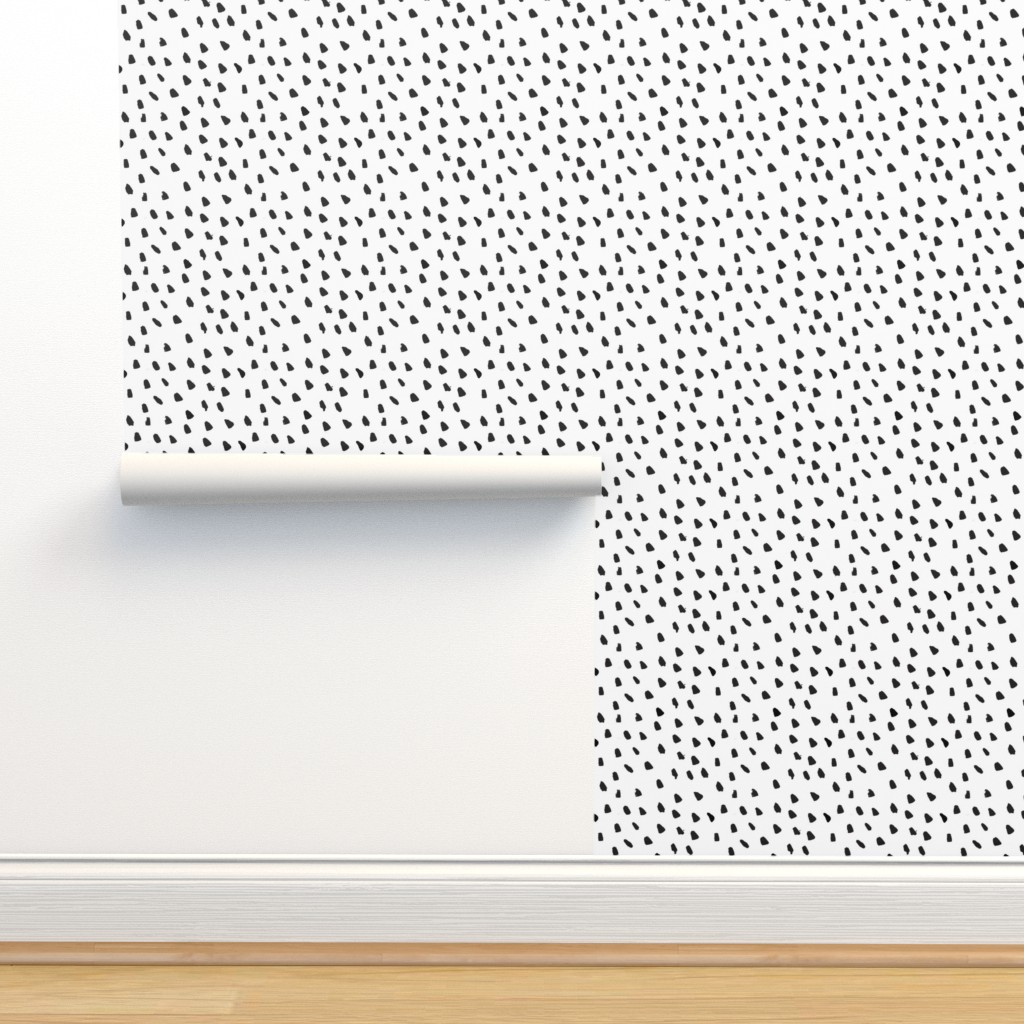 Isobar Durable Wallpaper featuring Painted Black Dots on White by weegallery