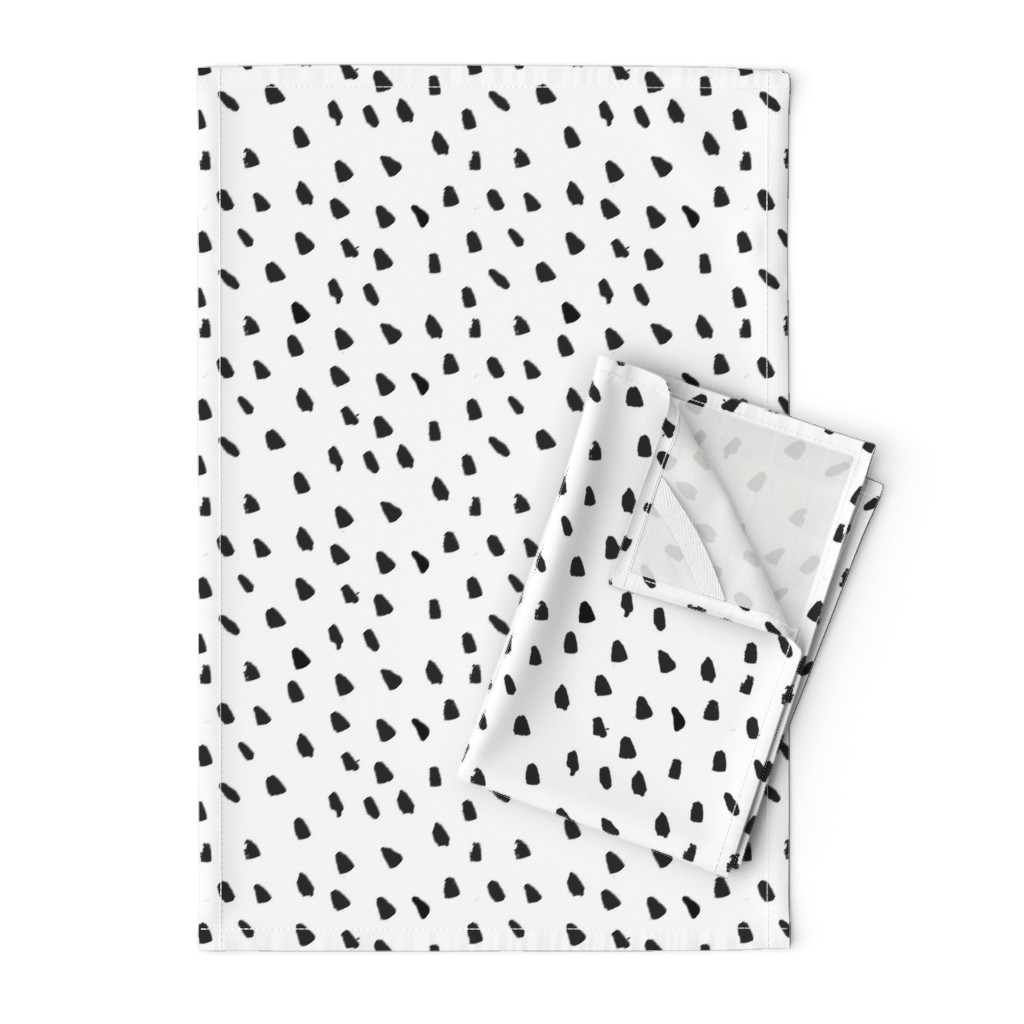 Orpington Tea Towels featuring Painted Black Dots on White by weegallery