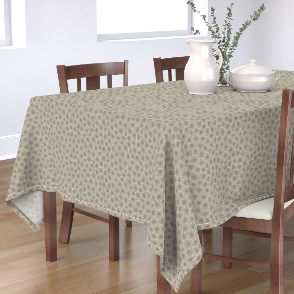 Bantam Rectangular Tablecloth featuring petoskey stone - natural by weavingmajor