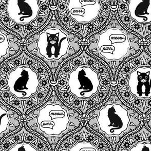 Grey cat damask