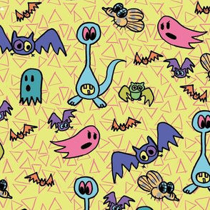 z4 - Spooky Bats and Friends in Yellow
