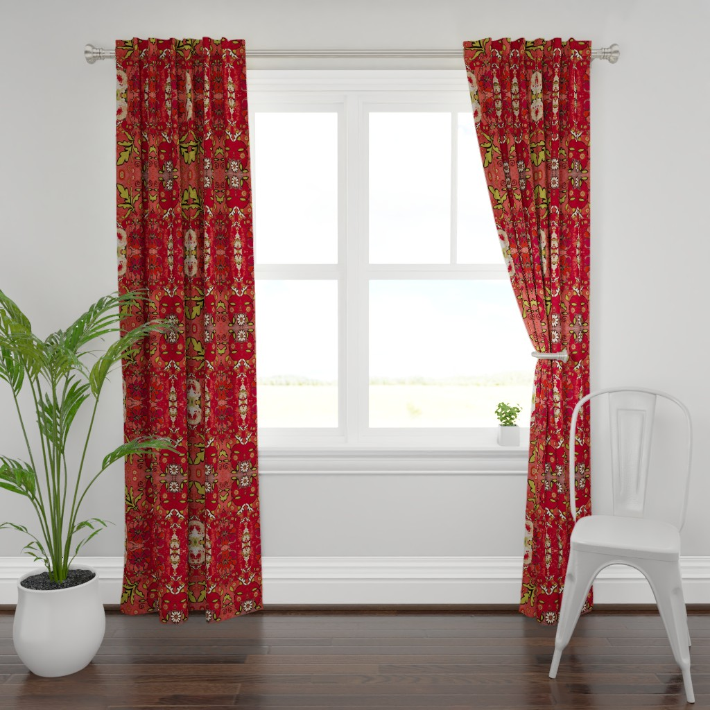 Plymouth Curtain Panel featuring Red Rose by maria_pezzano