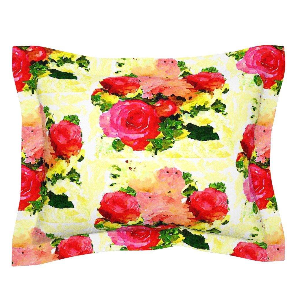 Sebright Pillow Sham featuring Watercolor Floral Bouquet in Light Yellow by theartwerks