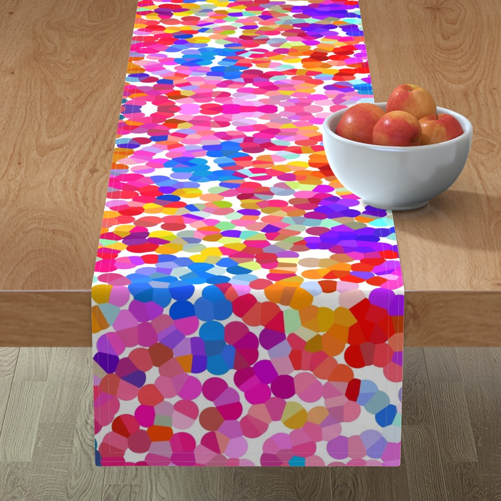 Minorca Table Runner featuring Pointillism in Magenta, Violet, and Orange by theartwerks