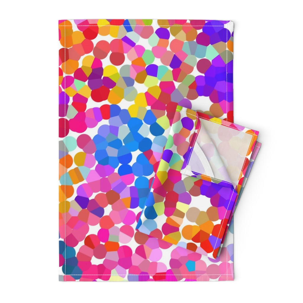 Orpington Tea Towels featuring Pointillism in Magenta, Violet, and Orange by theartwerks