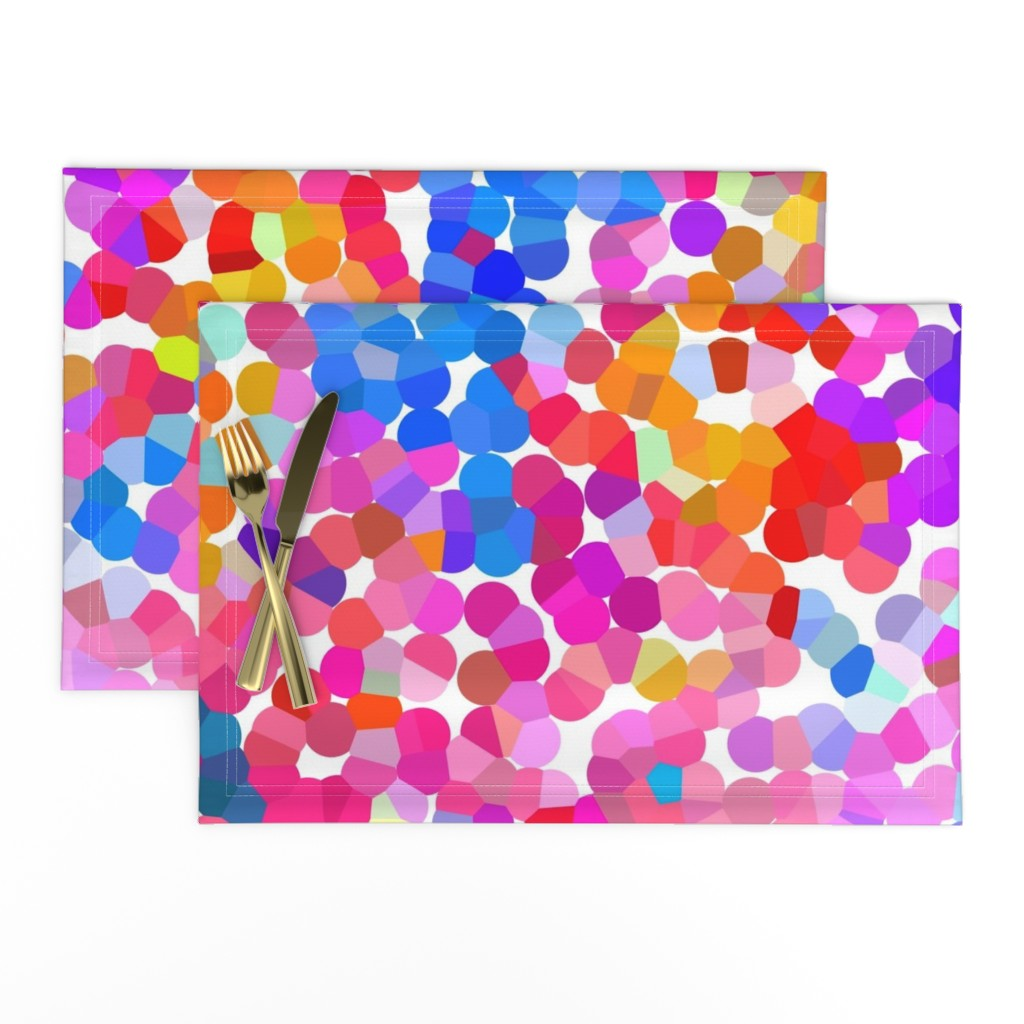 Lamona Cloth Placemats featuring Pointillism in Magenta, Violet, and Orange by theartwerks