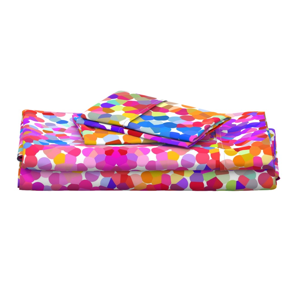 Langshan Full Bed Set featuring Pointillism in Magenta, Violet, and Orange by theartwerks