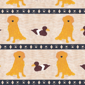 Primitive Golden Retriever and duck decoy - large border width