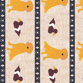 Primitive Golden Retriever and duck decoy - large border length